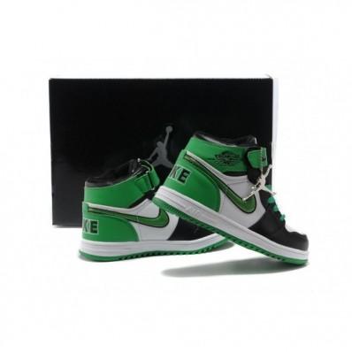 Jordan 1 enfants,basket jordan 1 enfant blanc vert noir