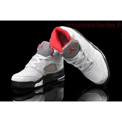 Jordan 5 enfants,Nike Air Jordan 5 Enfants Blanche Noir Fire Rouge Luxuriante Dans