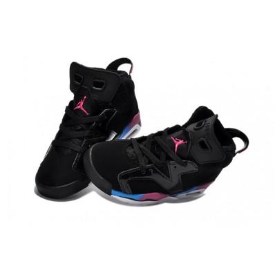 Jordan 6 enfants,jordan 23, Enfants noir rose bleu Air Jordan 6, basket jordan en