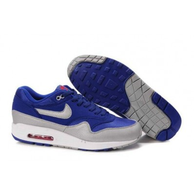 Nike Air Max 1 Homme,Nike Air Max 1 Pour Homme Navy Argent Blanc Site Francais