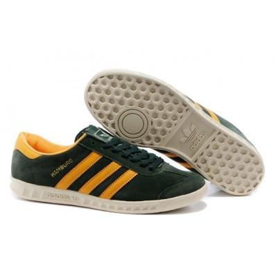 adidas hamburg homme,100 Originals Adidas Hamburg Suede Vert/Orange Mens Sneakers On