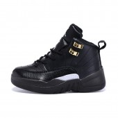 Jordan 12 enfants,Enfants Air Jordan 12 Retro Chaussures Noir Blanc Or,Jordan