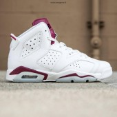 Jordan 6 enfants,Big Enfants Air Jordan 6 Retro OG BG (blanc / blanc / new maroon)