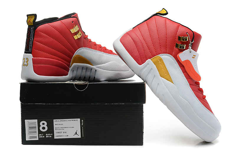 Jordan 12 enfants, ... blanc le plus récent air jordan 12 xii rouge jaune