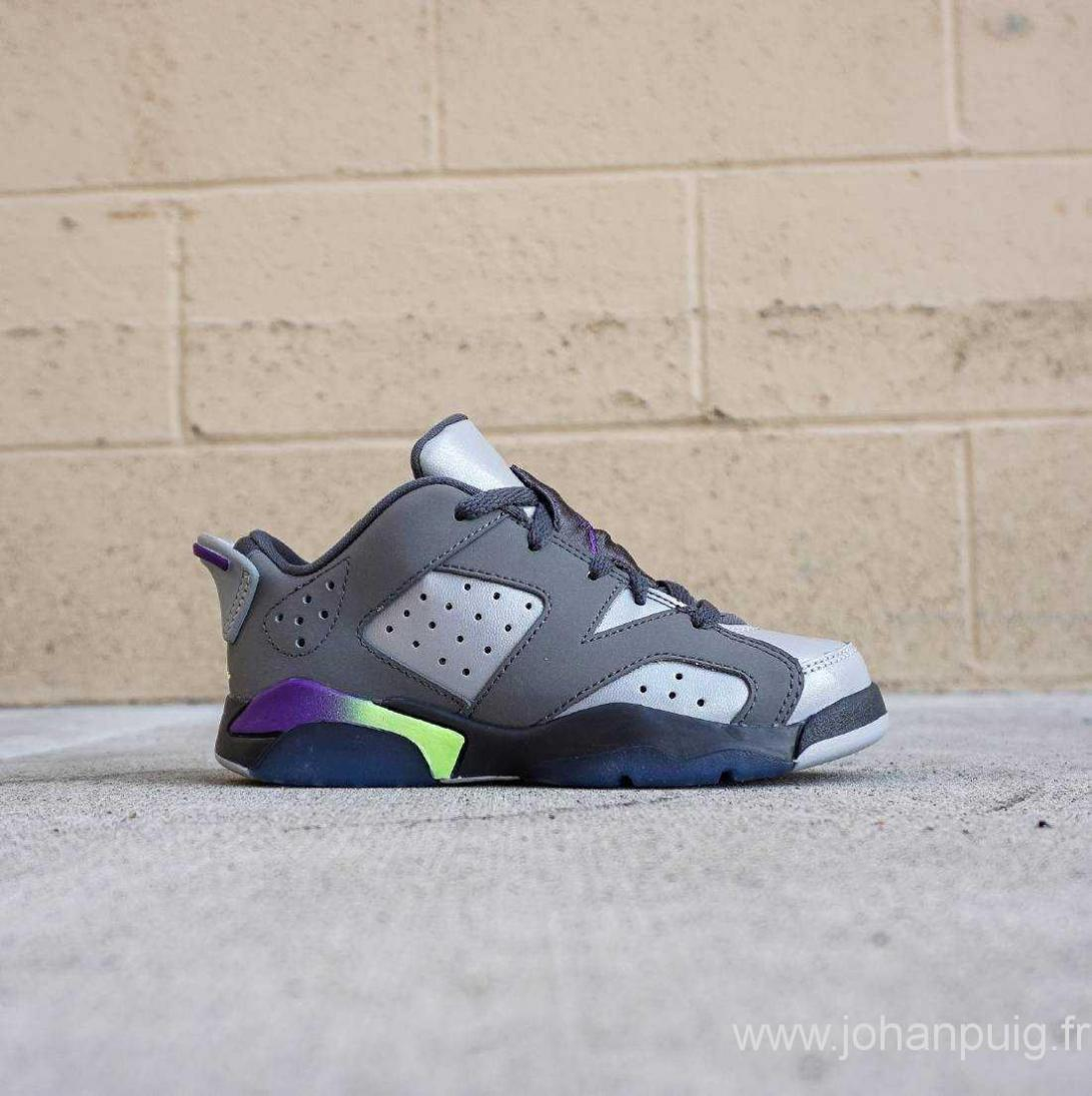 Jordan 6 enfants, France Chaussures Enfants - Jordan Little Enfants Air Jordan 6 Retro (Gray  / Ultra Violet / Ghost Vert) - Sku: 768884-008
