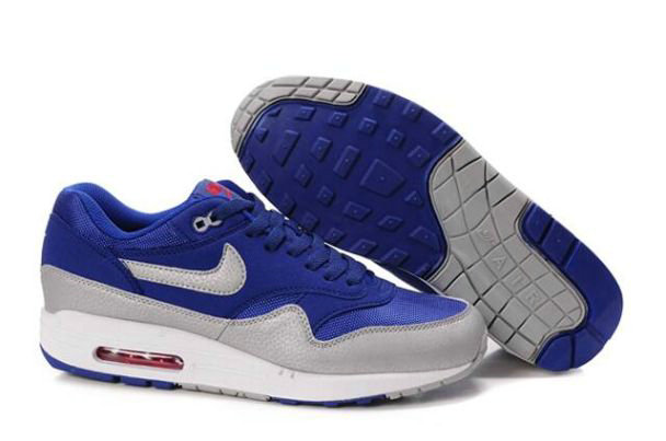 Nike Air Max 1 Homme, Basket Nike | Air Max 1 Pour Homme Navy Argent Blanc