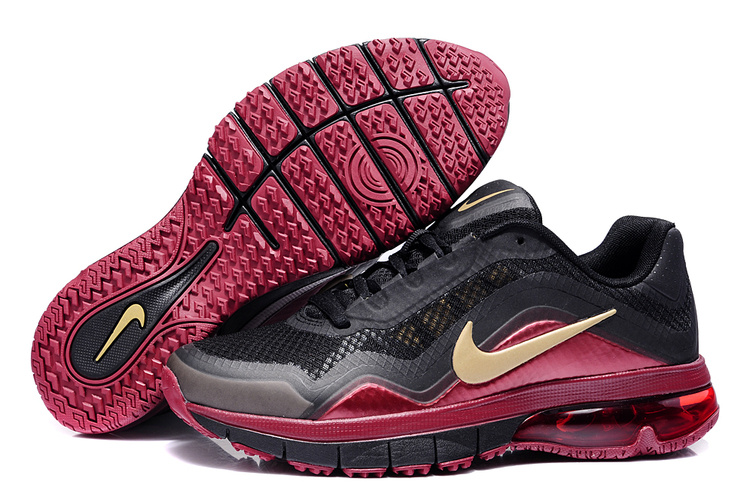 Nike Air Max 180 Homme, Chaussures de formation de Nike Air Max 180 hommes Tr Black Gold vin rouge